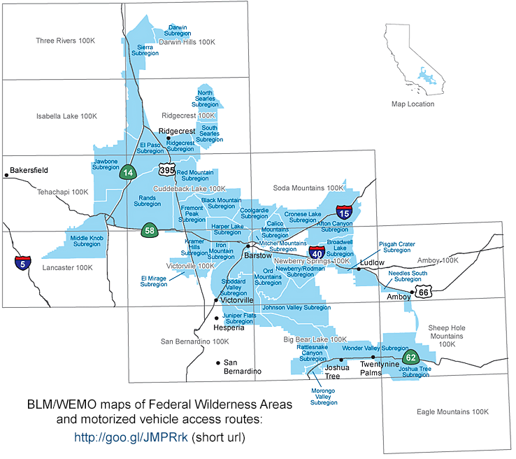 WEMO map of Federal Wilderness Areas and road access